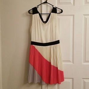 Modcloth cream, black and coral pleated dress